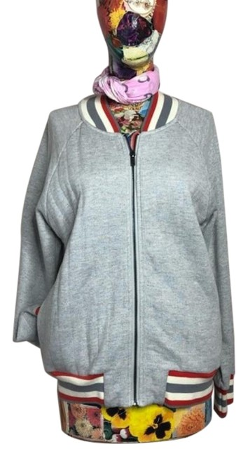 Item - Gray Red Varsity Striped Collar Quilted Back Bomber Jacket Size 12 (L)