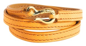 Ippolita IPPOLITA Orange Leather Wrap Bracelet 18K Yellow Gold Hook Burnt Size 2 New $695