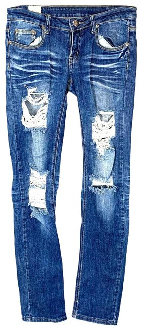 Item - Blue Distressed Ripped Flap Pocket Stretch 31 Straight Leg Jeans Size 29 (6, M)