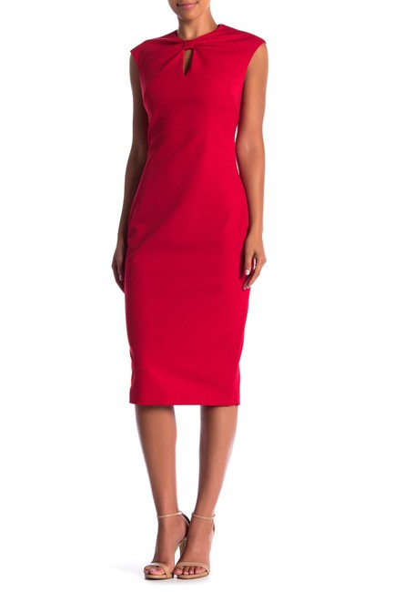 Item - Red Kezzia Bow Neck Mid-length Work/Office Dress Size 6 (S)