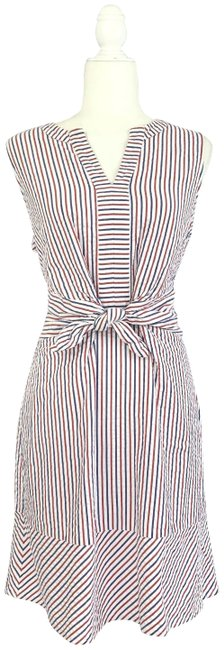 Item - White Blue and Red Firework Seersucker Tie Front Short Casual Dress Size 12 (L)