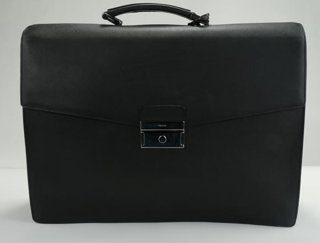 Item - Black Front Pocket Briefcase Saffiano Leather Men's Jewelry/Accessory