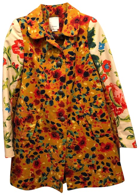 Item - Leopardlily Multi Colored Elevenses Floral Shift Coat Size 2 (XS)