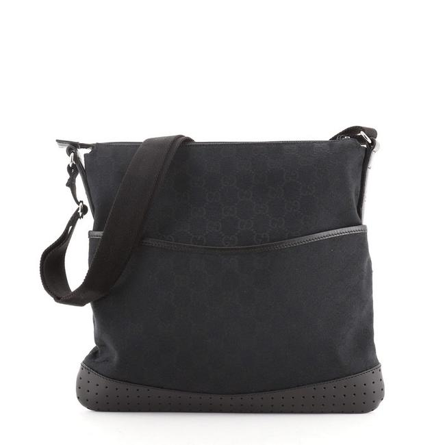 Item - Zip Gg with Perforated Leather Medium Black Canvas Messenger Bag