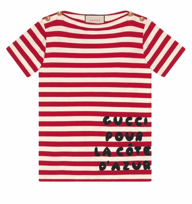 Item - Ivory/Red Cote D'azur Striped Patch T-shirt Tee Shirt Size 2 (XS)