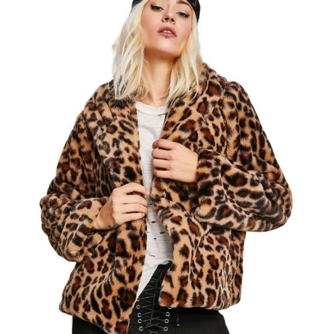 Item - Brown and Black Faux Leopard Cropped Jacket Coat Size 8 (M)