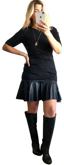 Item - Black Faux Leather Ruffle Night Out Dress Size 0 (XS)