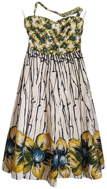Anthropologie Yellow Girls From Savoy Burgeoning Hypericum Mid-length Cocktail Dress Size 8 (M) Anthropologie Yellow Girls From Savoy Burgeoning Hypericum Mid-length Cocktail Dress Size 8 (M) Image 1