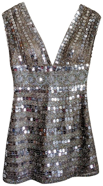Item - Silver Sequined Mini Short Cocktail Dress Size 6 (S)