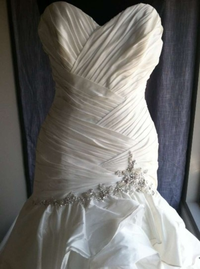 Maggie Sottero Diamond White Taffeta/Beading Jenna Dress Size 10 (M)