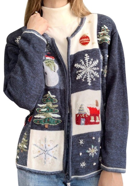 Item - Blue Vintage Patchwork Christmas Holiday Sweater Cardigan Size 12 (L)