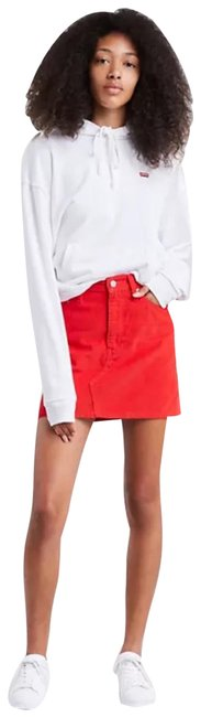 Item - Red Levi Deconstructed Corduroy Skirt Size OS (one size)