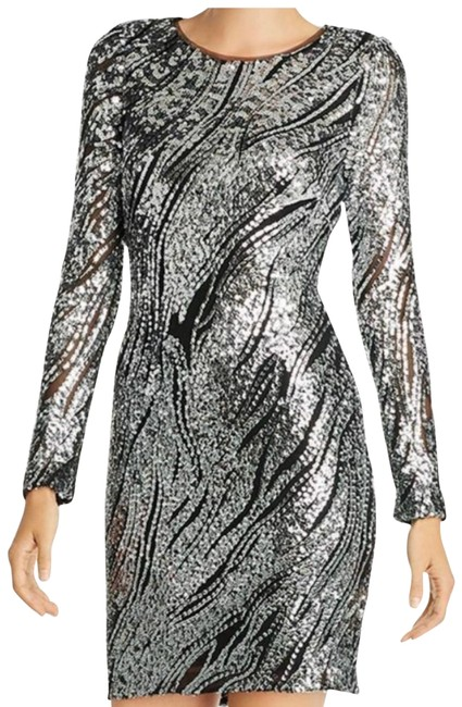 Item - Silver Black Women's sequin Animal Print Sheath Short Cocktail Dress Size 2 (XS)