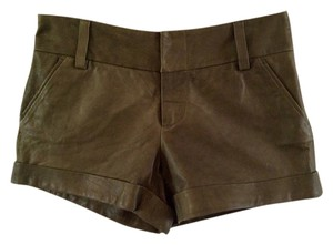 Alice + Olivia Short Leather Cady Cuff Mini Shorts Green