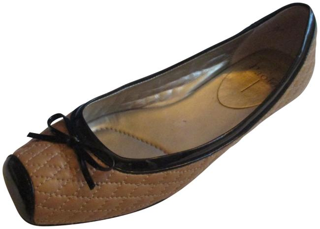 Item - Tan and Black Patent Camel Quilted Square Toe Ballet Flats Size US 10 Regular (M, B)