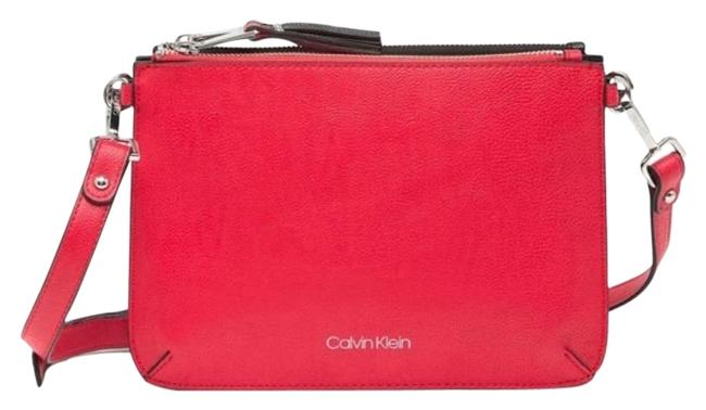 Item - Pebbled Red/Black Faux Leather Cross Body Bag