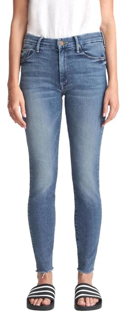 Item - Blue Medium Wash High Waisted Looker Ankle Fray Capri/Cropped Jeans Size 33 (10, M)
