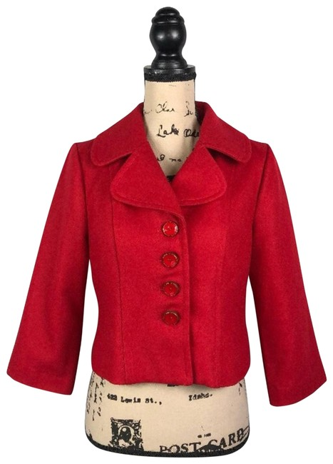 Item - Red Tulle 3/4 Sleeve Cropped Jacket S Coat Size 6 (S)