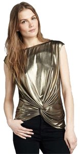 Halston Party Trendy Top Metallic Gold
