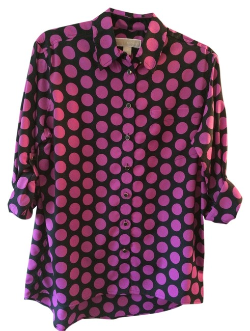 Michael Kors Button Down Shirt Black with Purple