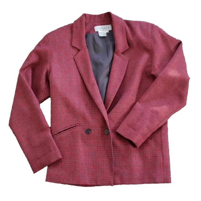 Item - Red & Gray Wool Double Breasted Blazer Size 4 (S)