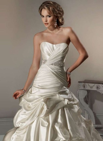 Maggie Sottero Diamond White Satin Calista Wedding Dress Size 10 (M)