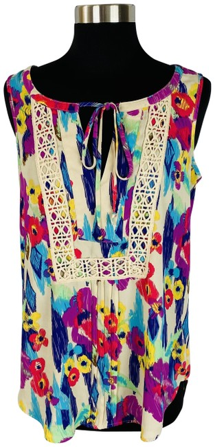 Item - Multicolor Abstract Floral Crochet Accented Blouse Size 4 (S)