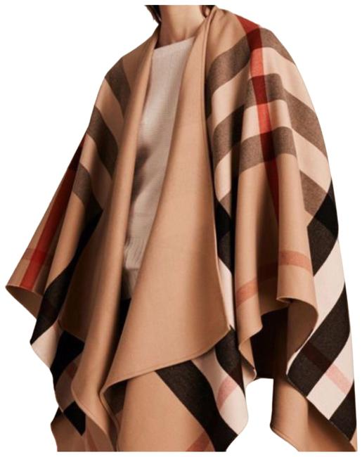 Item - Camel Charlotte Reversible Wool Check. Poncho/Cape Size OS (one size)