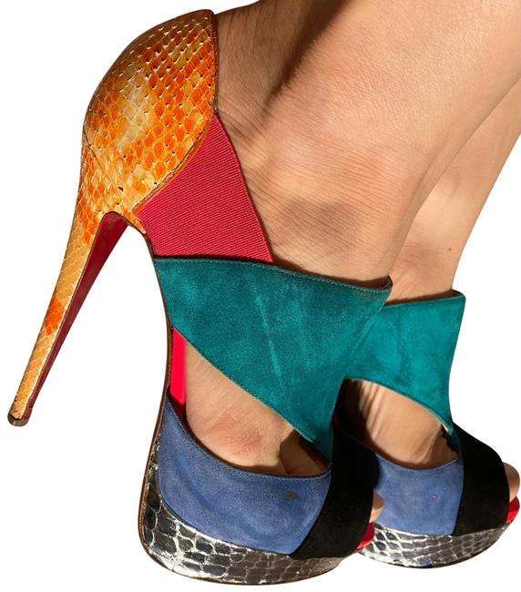 Item - Black Yellow Pink Blue Green Limited Edition Pythons Leather Elements Platforms Size EU 38 (Approx. US 8) Regular (M, B)