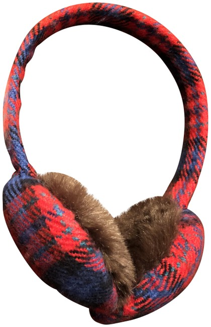 Item - Red & Blue Plaid And Ear Muffs Hair Accessory