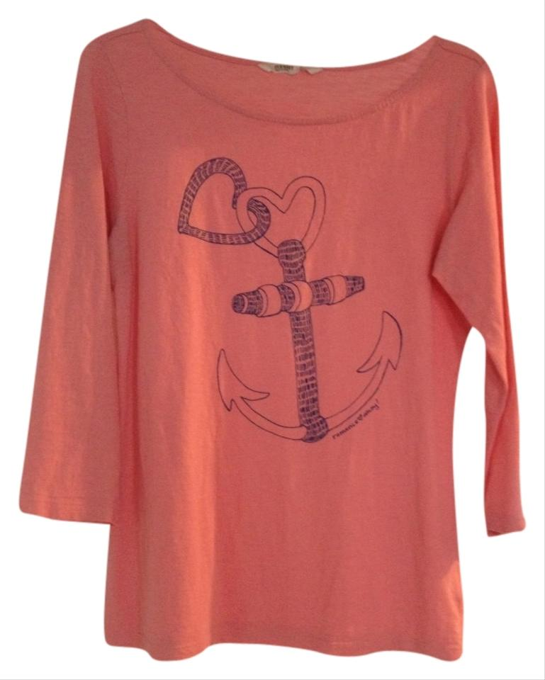 Old Navy Coral Nautical Tee Shirt Size 8 M Tradesy