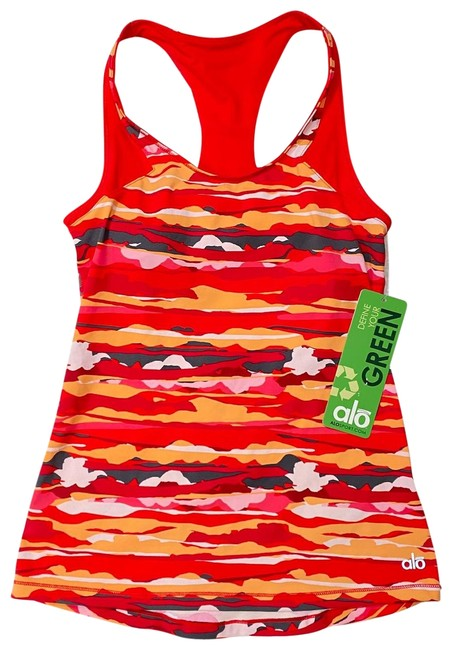 """Item - Red Tango Paint Stroke Print """"Nwt"""" Activewear Top Size 4 (S)"""