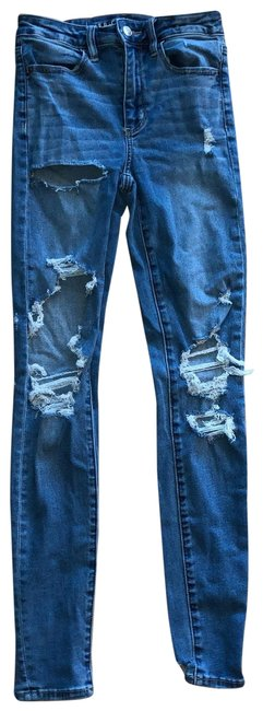 Item - Blue Distressed Super Hi-rise Jegging Blow Out Knee 2 Long Skinny Jeans Size 26 (2, XS)