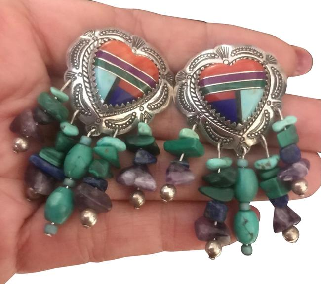 Item - Blue Signed Fringed Turquoise Heart Inlay Sterling Silver Earrings