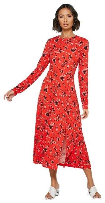 Item - Red Floral Print Slit Long Sleeve Mid-length Cocktail Dress Size 8 (M)