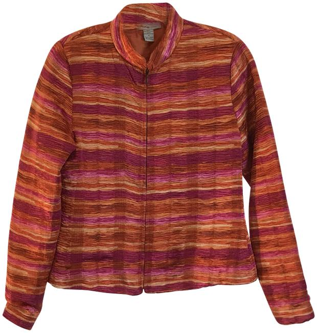 Item - Pink and Orange Ombre Crimped Satin Jacket Size 6 (S)