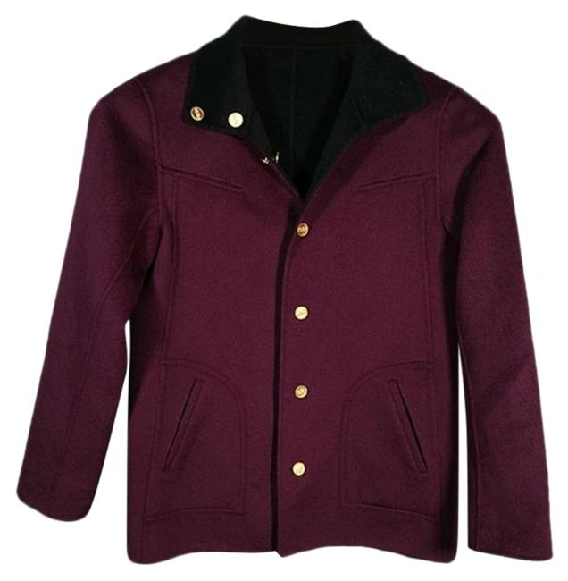 Item - Purple Black Sport Reversible Cashmere Blend Coat Size 8 (M)