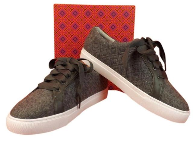 Item - Gray Marion T Quilted Felt Logo Lace Up Sneakers Size US 8.5 Regular (M, B)