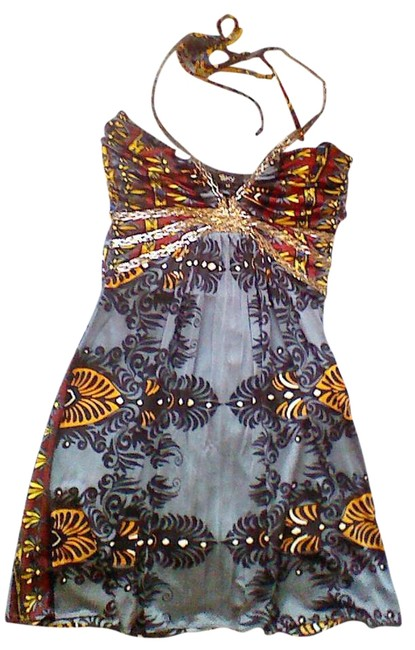 Item - Grey and Multi Colored Silver Chain Accent Halter Top Size 8 (M)
