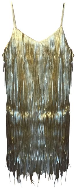 """Item - Gold & Silver """"Fall 2019"""" Fringe Slip Mid-length Night Out Dress Size 0 (XS)"""