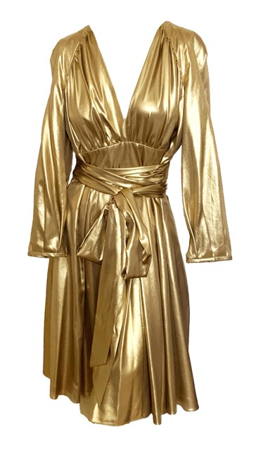 Gianfranco Ferre Gold Vintage Lame Fabulous Mid-length Night Out Dress Size 6 (S) Gianfranco Ferre Gold Vintage Lame Fabulous Mid-length Night Out Dress Size 6 (S) Image 1