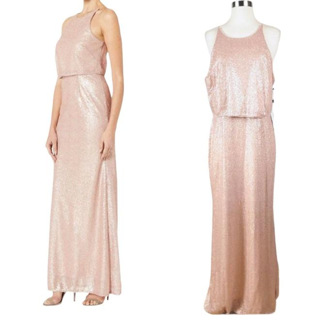Item - Pink Sequin Halter Popover Modified Mermaid Gown Long Formal Dress Size 12 (L)