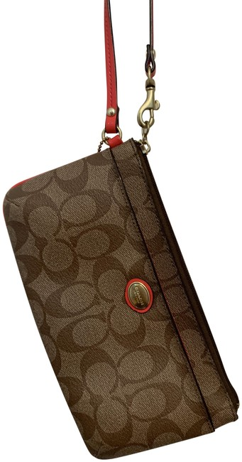 Item - Signature Canvas Tan and Red Leather Wristlet