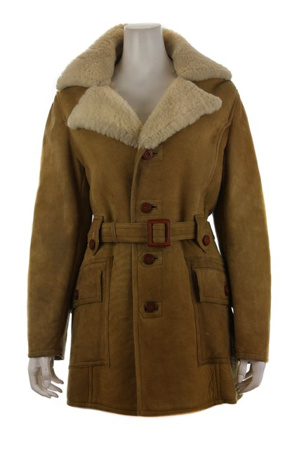 Item - Beige No Label Vintage Chunky Mid Length Shearling Small Coat Size 4 (S)