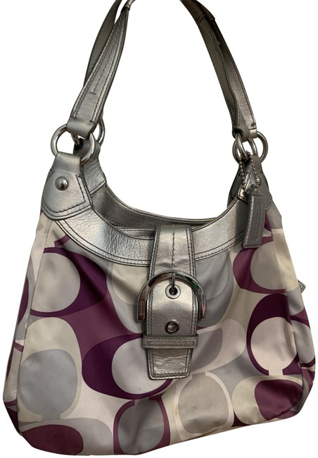 Item - Signature Silver and Purple Cloth Leather Shoulder Bag