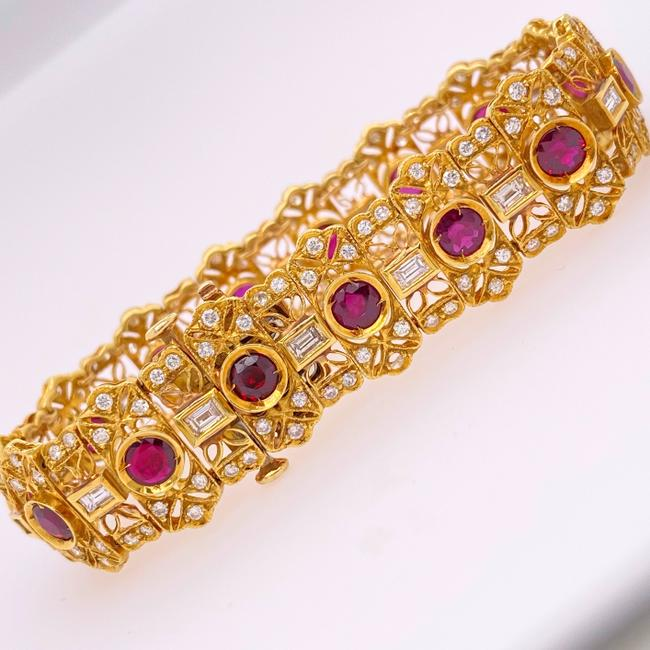 Item - Yellow Gold Natural Ruby and 10.60 Tcw 18k Bracelet