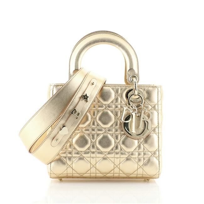 Item - Lady My Abcdior Cannage Quilt Lambskin Gold Metallic Leather Shoulder Bag