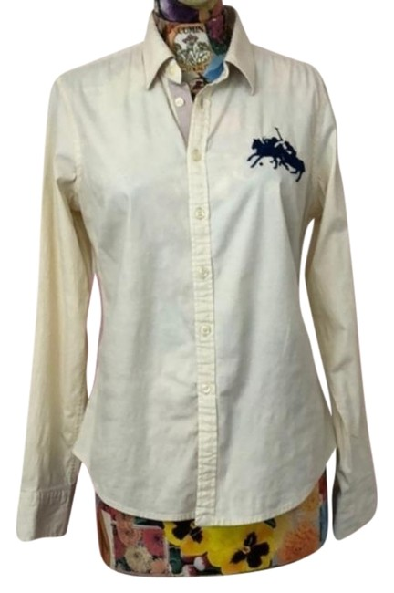 Item - Cream Blue Polo Big Pony Embroidered Button-down Top Size 12 (L)