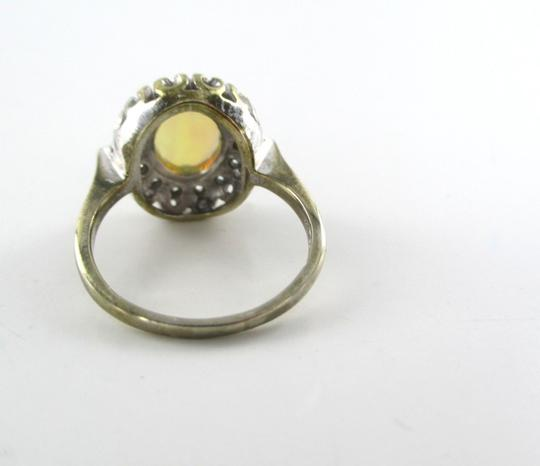 Other 14KT SOLID WHITE GOLD RING OPAL RING 14 DIAMONDS .21 CARAT ANTIQUE VINTAGE 3.9 G