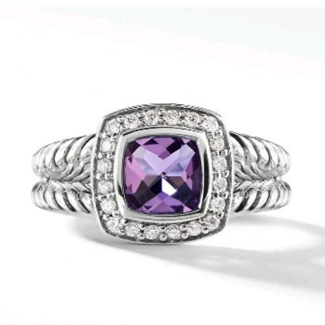 Item - Amethyst Sterling Silver Diamonds Ring
